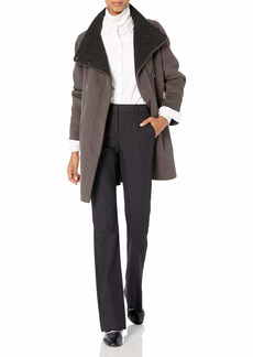 Elie Tahari Women's Laura Oversized Wool Zip Coat  L