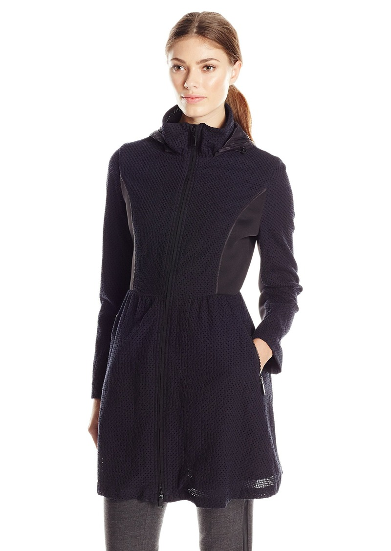 Elie Tahari Women's Lexy Fit and Flare Lace Coat with Hood