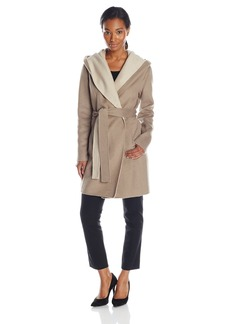 Elie Tahari Women's Mala Two Tone Wool Wrap Coat