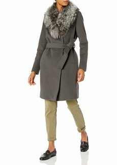 Elie Tahari Women's Sasha Wool Wrap Coat with Real Fur Collar  M