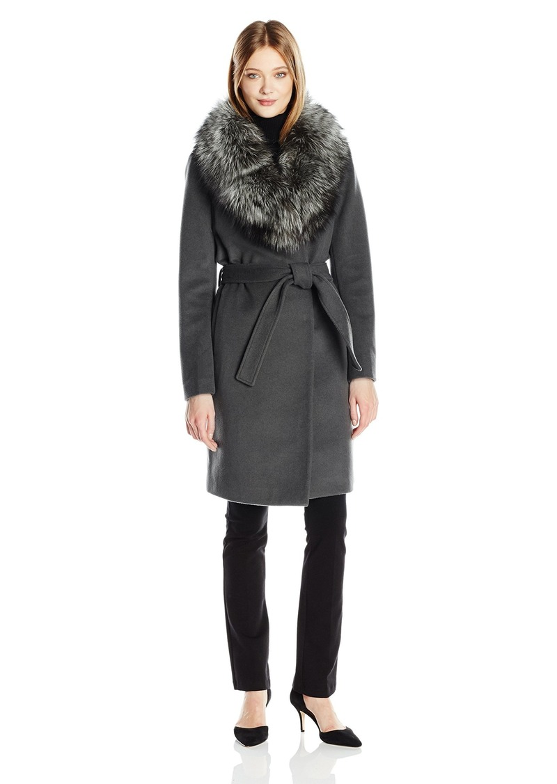 Elie Tahari Women's Sasha Wool Wrap Coat with Real Fur Collar  XS