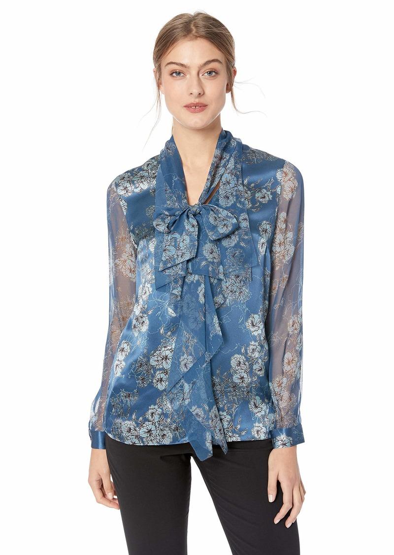 Elie Tahari Women's Silk Charmeuse Trellis Poppy Printed Jurnee Blouse  XL