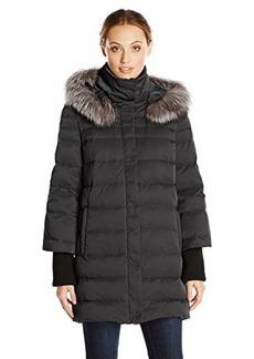 Elie Tahari Women's Silvana Down Coat with Fur Hood