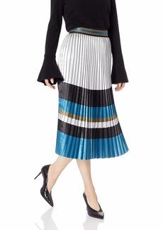 Elie Tahari Women's Striped Pleated Polyester TAMSEN Skirt  L