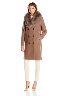 Elie Tahari Women's Trystan Elegant Tailored Peacoat with Real Fur Collar  L