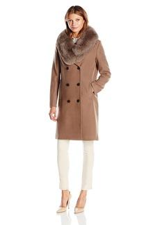 Elie Tahari Women's Trystan Elegant Tailored Peacoat with Real Fur Collar  XL