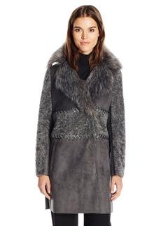 Elie Tahari Women's Veronica Shearling Faux Fur Coat  M