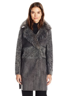 Elie Tahari Women's Veronica Shearling Faux Fur Coat  L