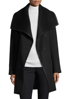 Elie Tahari Wool-Blend Wrap Coat w/ Whipstitched Leather Trim