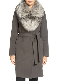 Elie Tahari Wrap Coat with Genuine Fox Fur Collar