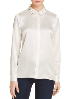 Elie Tahari Wren Embellished Collar Silk Blouse - 100% Exclusive