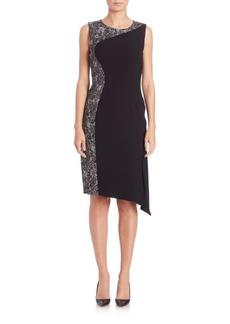 Elie Tahari Wynn Placed Marble-Print Sheath Dress