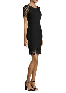 Elie Tahari Yadira Floral Lace-Trimmed Dress