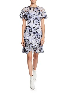 Elie Tahari Yonica Printed Flutter-Sleeve Dress