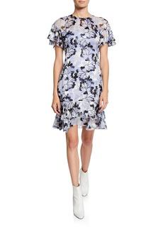Elie Tahari Yonica Printed Flutter-Sleeve Dress