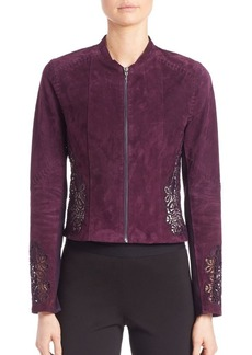Elie Tahari Zahara Floral Lace Suede Jacket