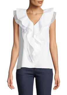 Elie Tahari Zavanna Ruffled Sleeveless Blouse