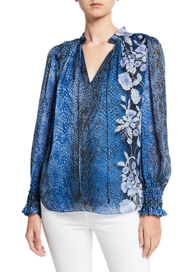 Elie Tahari Zeina Snake-Print Blouson-Sleeve Blouse