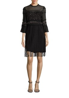 Elie Tahari Zella Silk Fringe Dress