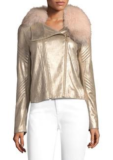 Elie Tahari Zia Metallic Leather & Fur Jacket