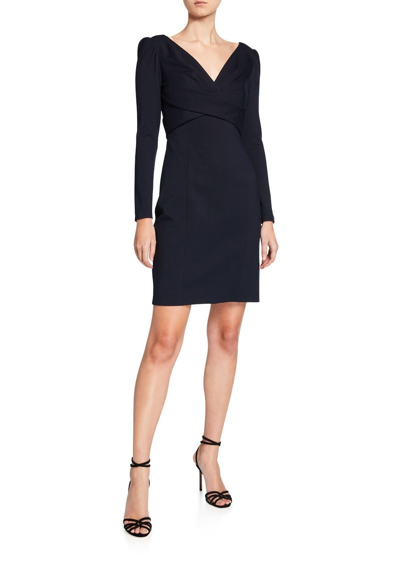 Elie Tahari Zoe V-Neck Long-Sleeve Ponte Sheath Dress