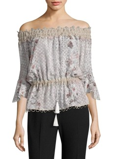 Elie Tahari Zoia Floral Lace Off-The-Shoulder Bell Sleeve Blouse