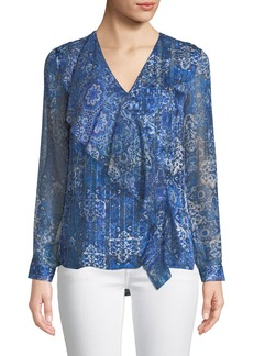 Elie Tahari Zona Graphic-Print Long-Sleeve Silk Blouse
