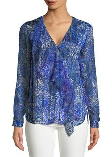 Elie Tahari Zona Mosaic Silk Blouse