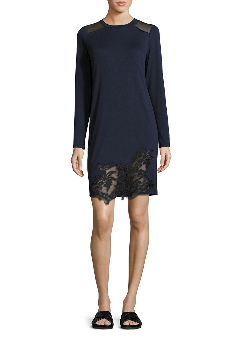 Elie Tahari Zuma Long-Sleeve Lace-Trim Shift Dress