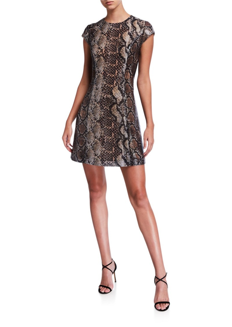 Elie Tahari Elissa Python Cap-Sleeve Mini Dress