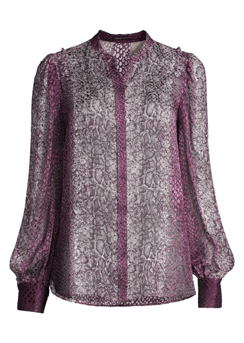 Elie Tahari Elizabeth Cobra Satin Burnout Blouse