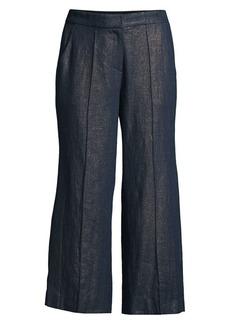 Elie Tahari Eloisa Metallic Linen Cropped Pants