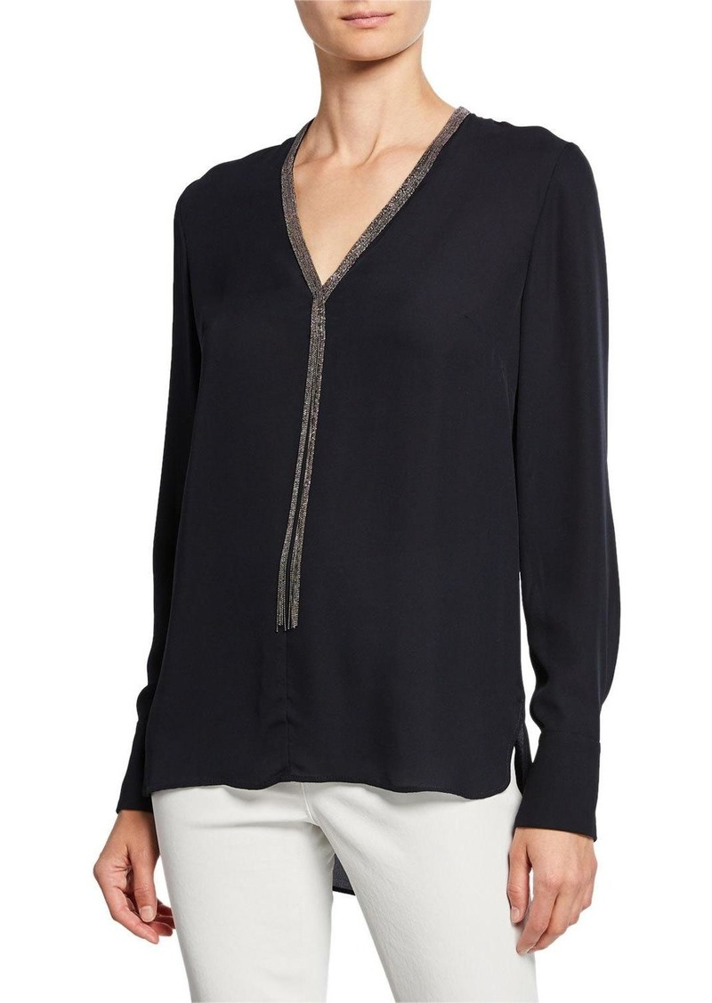 Elie Tahari Emara V-Neck Long-Sleeve Blouse w/ Beaded Trim