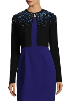Elie Tahari Embellished Merino Wool Cardigan
