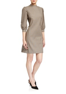 Elie Tahari Emilia Mock-Neck Check Dress