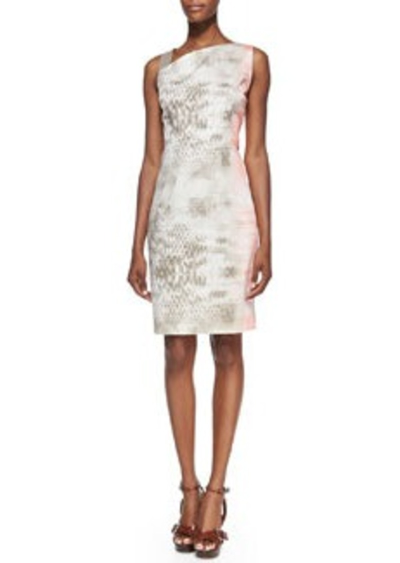 Elie Tahari Emory Snake-Print Dress with Leather Shoulder Strap   Emory Snake-Print Dress with Leather Shoulder Strap