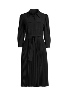 Elie Tahari Erie Pleated Shirtdress