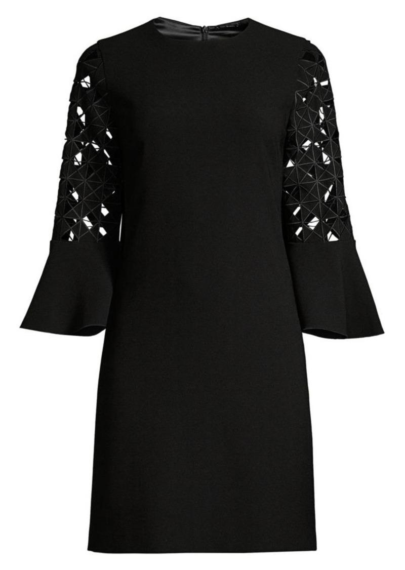 Elie Tahari Esmarella Lace Eyelet Bell-Sleeve Shift Dress