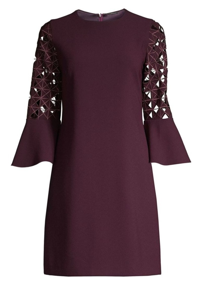 Elie Tahari Esmarella Lace Eyelet Bell-Sleeve Shift Dress