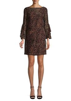 Elie Tahari Esmarella Leopard-Print Velvet Burnout Dress