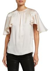 Elie Tahari Evangeline Crewneck Flutter-Sleeve Silk Blouse