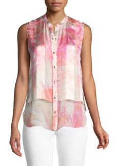Elie Tahari Eve Graphic-Print Silk Blouse