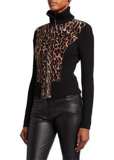 Elie Tahari Evita Calf-Hair Zip-Front Sweater Jacket