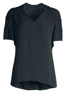 Elie Tahari Evlin Ruched Short-Sleeve Silk Top