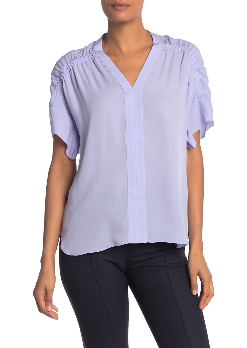 Elie Tahari Evllin Silk Gathered Shoulder Blouse