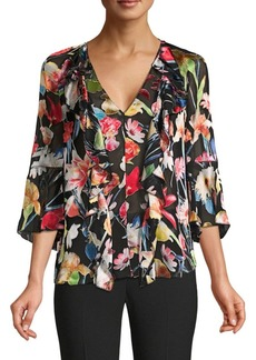 Elie Tahari Faith Floral Satin Burnout Blouse
