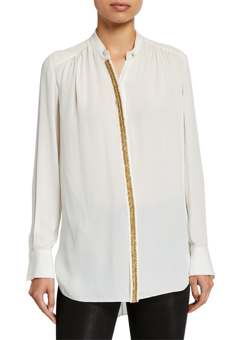 Elie Tahari Felice Button-Down Long-Sleeve Silk Blouse
