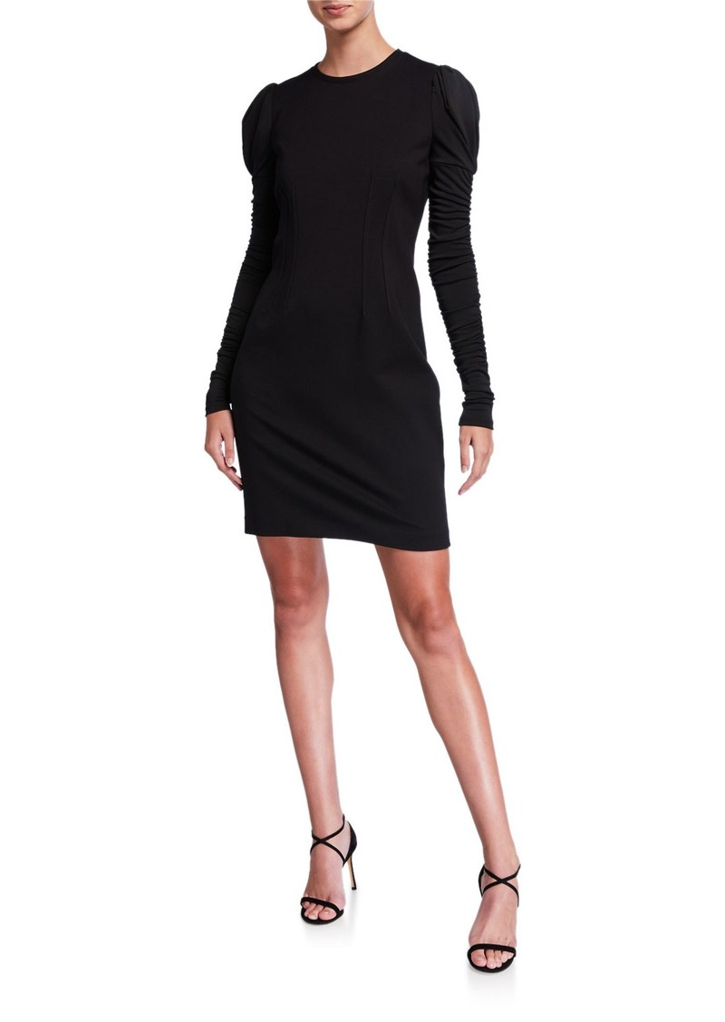 Elie Tahari Fidelia Long-Sleeve Slit-Back Mini Ponte Dress