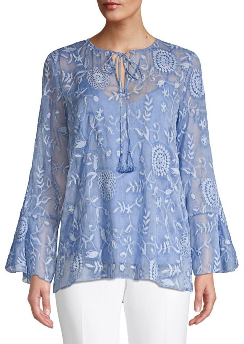 Elie Tahari Floral Embroidered Blouse