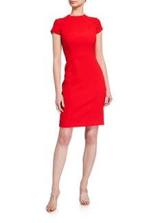 Elie Tahari Freida Cap-Sleeve Crepe Sheath Dress